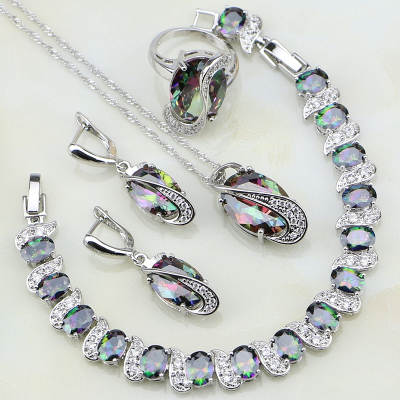 Mystic Rainbow Cubic Zirconia White CZ 925 Sterling Silver Jewelry Sets For Women Party Necklace/Earrings/Pendant/Ring/Bracelet a suit of gorgeous rhinestoned flower necklace bracelet earrings and ring for women