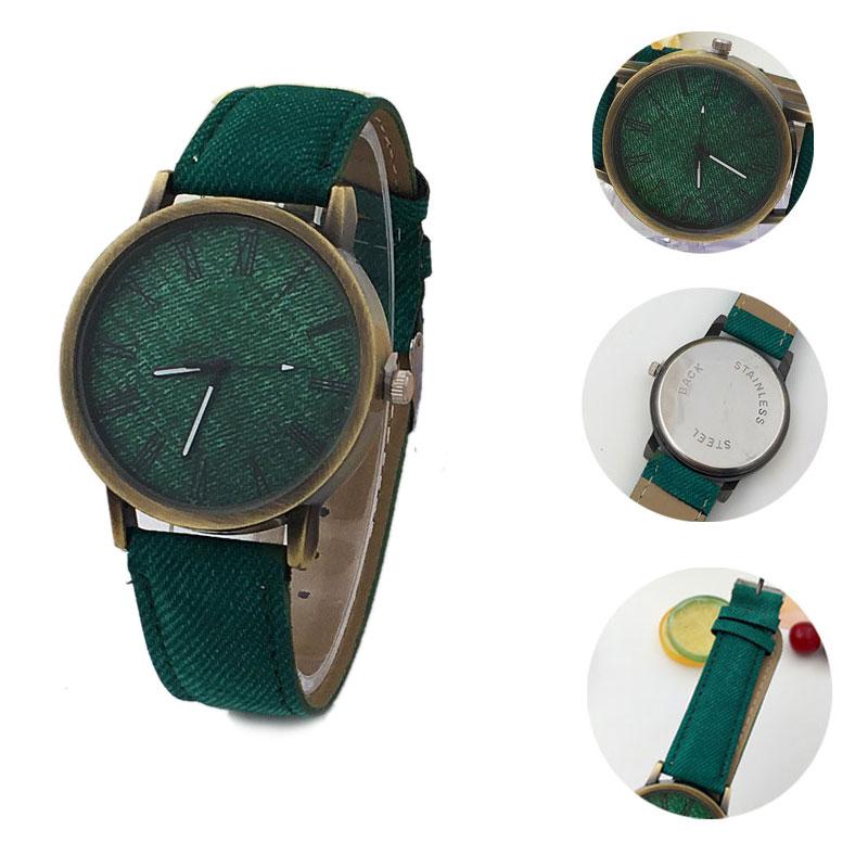 Simple Lover Watches Rome Digital Retro Clock Case Scale Denim Cow Leather Strap Wristwatch Men Women Casual Quartz Watch LL@