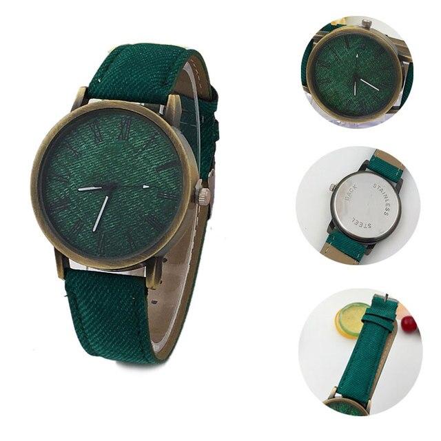 Simple Lover Watches Rome Digital Retro Clock Case Scale Denim Cow Leather Strap