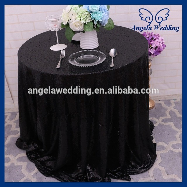 SQ025B Cheap many colors available beaded rectangle glitter black sequin table cloth