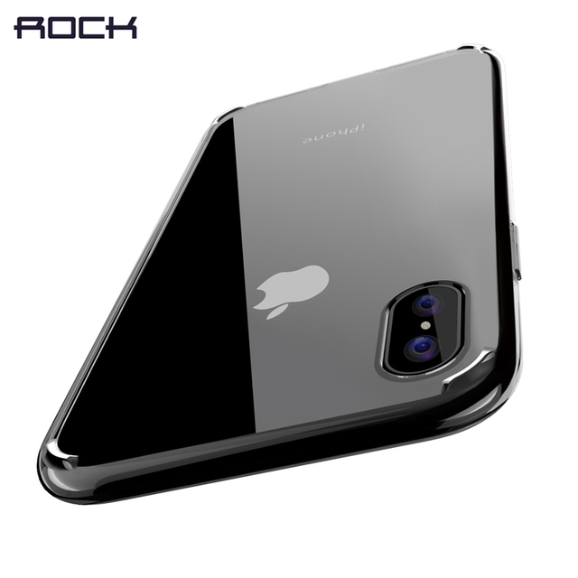 Pure Series for iPhone X Case, ROCK Hard Back case for iPhone X Crystal Clear Phone case for iPhoneX hard back with soft edge