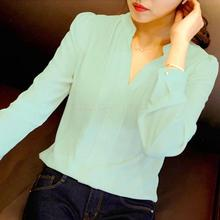 2016 Womens Long Sleeve White Chiffon Blouse Shirt Ladies Green Pink White Elegant Sexy V Neck