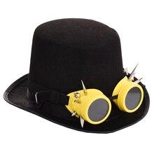 Black Women Men Fedora Hat Steampunk Hat With Goggles Steam