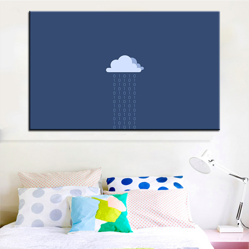 ٩(^‿^)۶Large size Printing Oil Painting cartoon rain cloud Wall ...