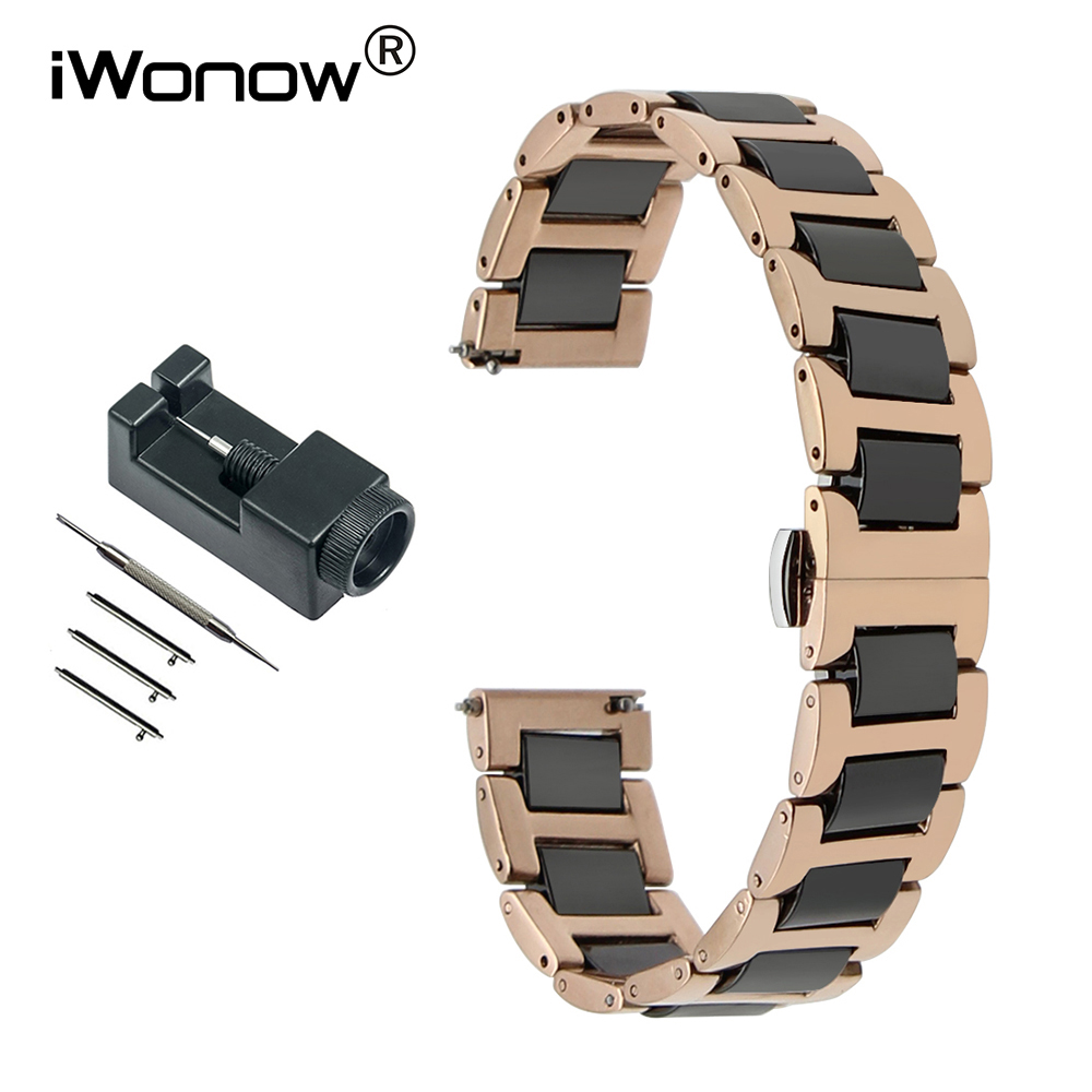 Ceramic & Stainless Steel Watchband 18mm 20mm 22mm for Mido Men Women Watch Band Quick Release Strap Wrist Bracelet Rose Gold quality solid stainless steel watchband 18mm 23mm 25mm grace rose gold watch bracelet for constellation double eagle strap