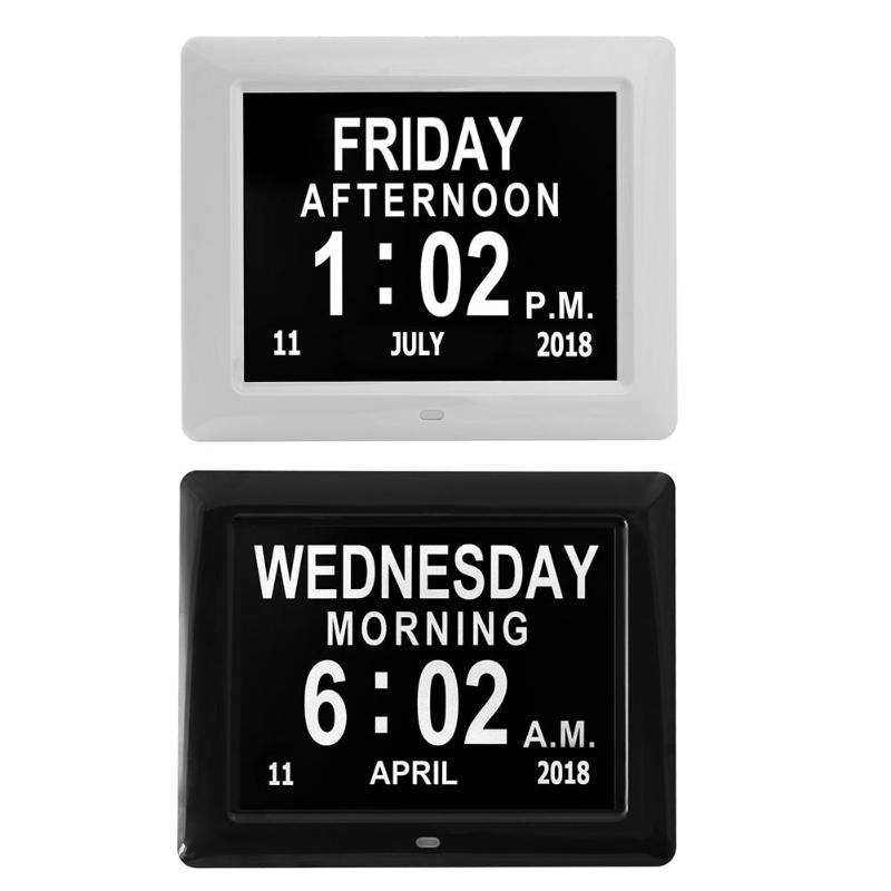 8 Inch TFT LCD Screen Digital Photo Clock Frame Time Saving Multilanguages 2colors 12/24 hour modeSuper large font display