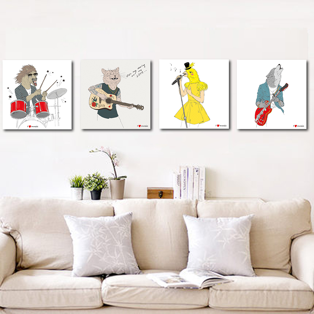 Unframed Multiple Pieces Canvas Cartoon Animal Band Prints Wall Pictures For Living Room Wall Art Decoration 2018 Dropshipping