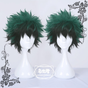 Krótki zielony japoński Anime mój Hero Academia Midoriya Izuku Boku no Hero Academia gradientu peruka Cosplay włosy Halloween