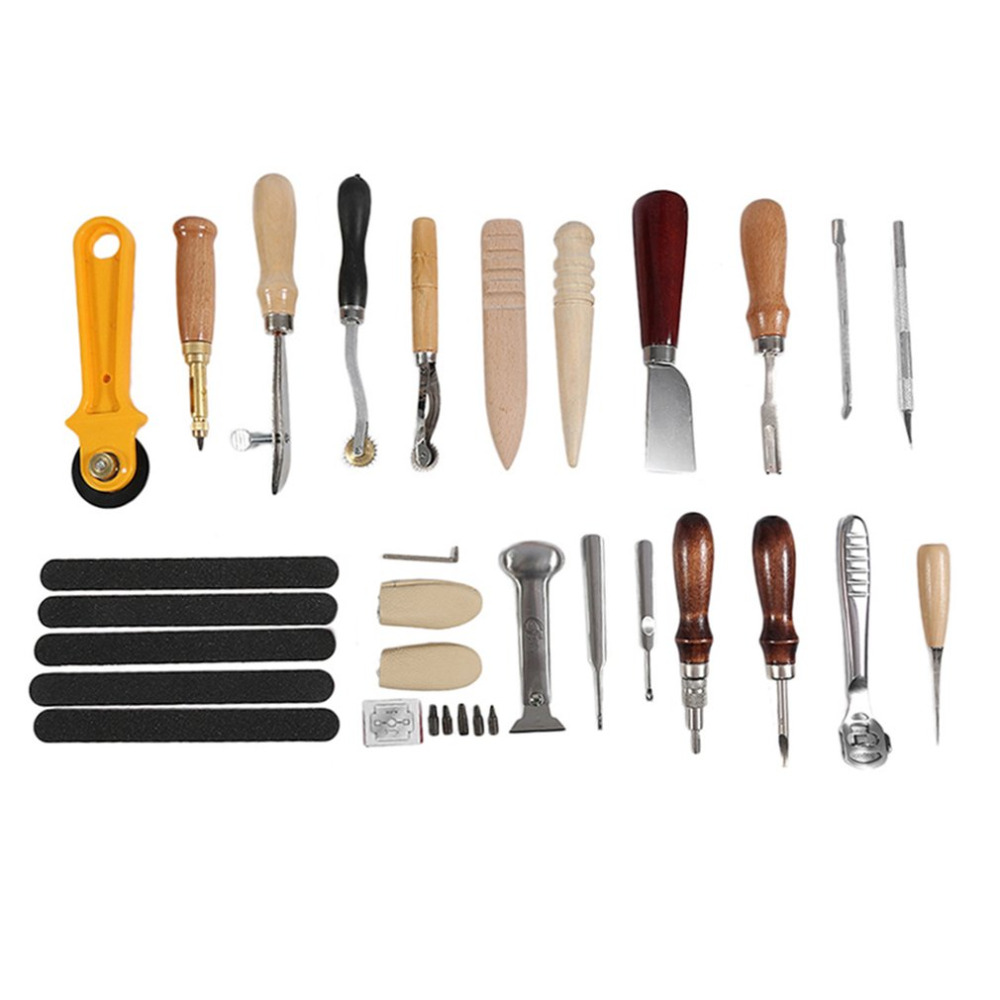 20Pcs/set Practical Leather Hand Tools for Leathercraft Set Kit Punch Stitching Sewing Tool DIY Stamp Gift Hand Tools 5pcs u v shaped working hand leather trench stitching groover skiving edge diy craft keen edge beveler leathercraft tools kit