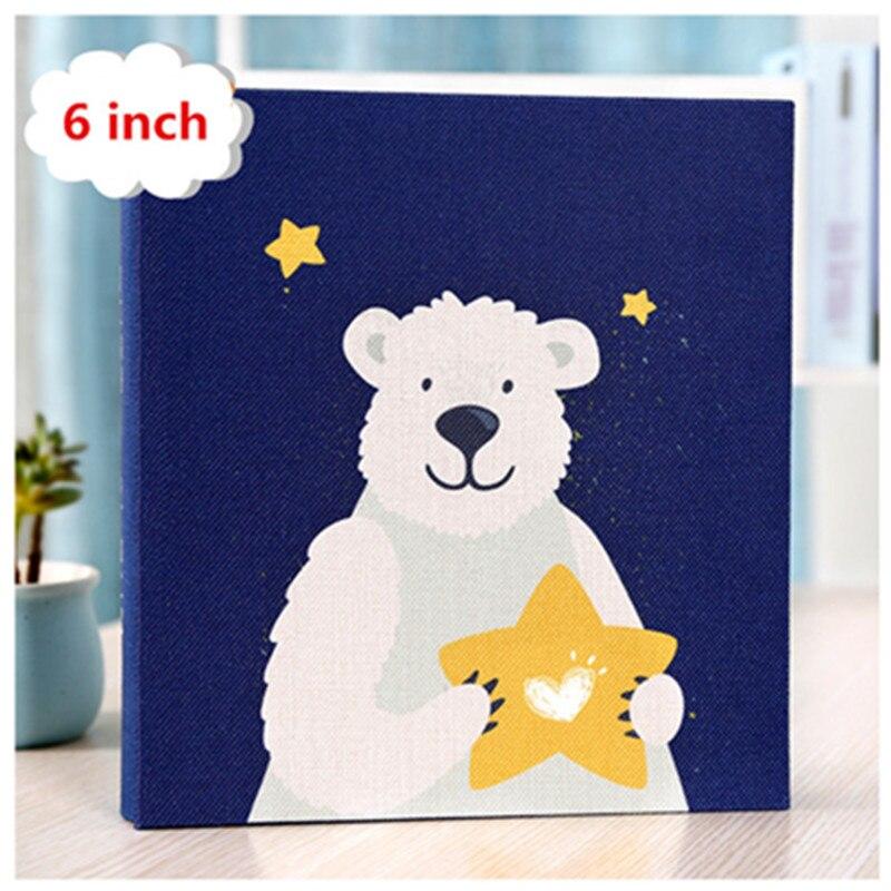 Denim cover bear stars fox art family insert photo album 6 inch 5 inch album 800