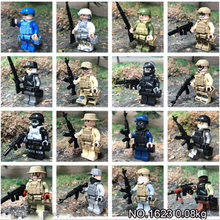16Pcs/set Military Navy Air Forces Army Soldiers Bricks Figures Weapons Bricks Armed SWAT Building Blocks WW2 Toys(China)