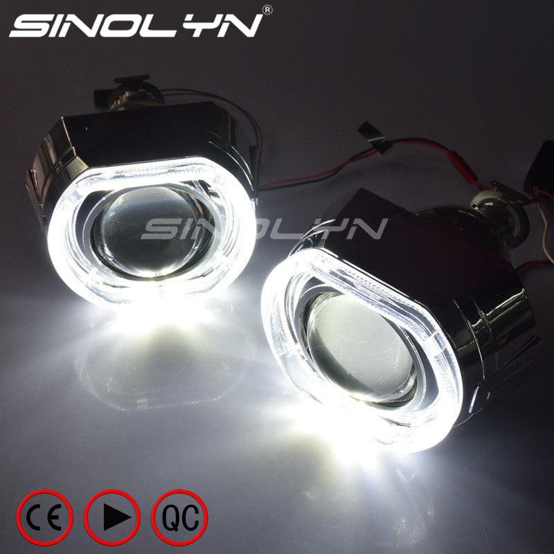 Lentes de faro Sinolyn H4 H7 LED Angel Eyes Devil Lens bi-xenon 2,5 proyector X5 accesorios de luces de coche Retrofit H1 bombilla HID