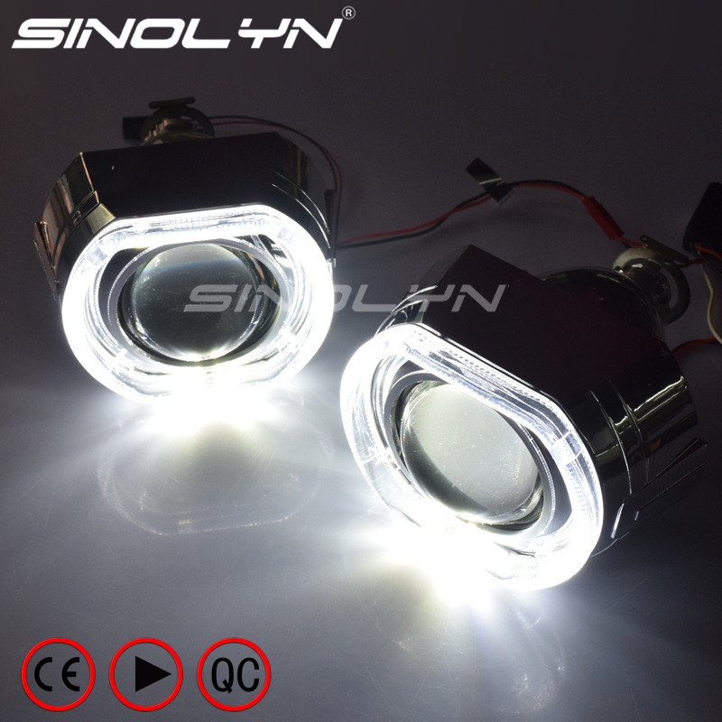 SINOLYN X5 Square LED Angel Eyes Devil Halo DRL Bi Xenon Lens Car Projector Headlight HID Auto Tuning Kit H4 H7, Use H1 Bulbs 2 5inch bixenon projector lens with drl day running angel eyes angel eyes hid xenon kit h1 h4 h7 hid projector lens headlight