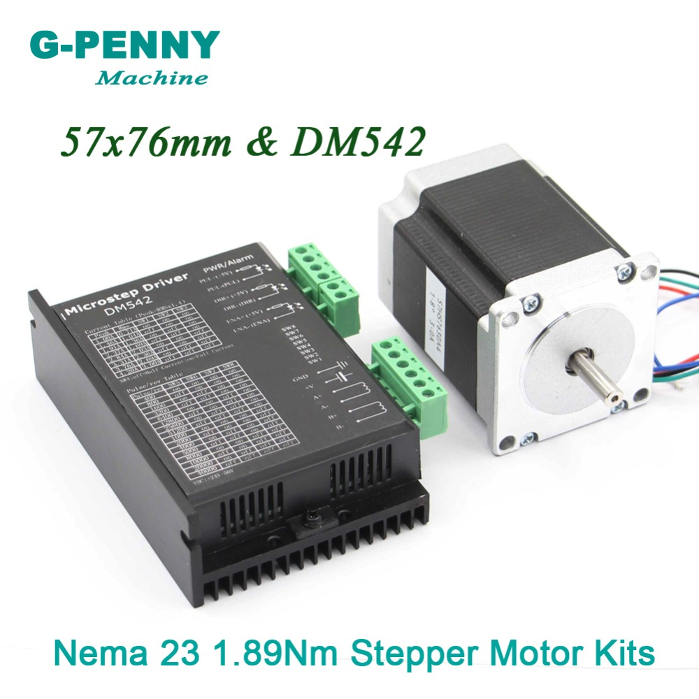 New! NEMA23 CNC Stepping Motor 57x76mm shaft 6.35mm single shaft 1.89N.m 270Oz-in 3A& DM542 M542 1.0-4.2A DC24-50v Microstep 256New! NEMA23 CNC Stepping Motor 57x76mm shaft 6.35mm single shaft 1.89N.m 270Oz-in 3A& DM542 M542 1.0-4.2A DC24-50v Microstep 256