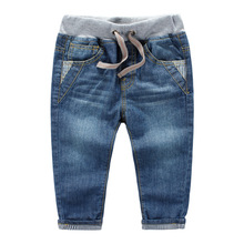 3-10years spring autumn children jeans baby boys pants high quality kids Children's volume label stripe denim trousers