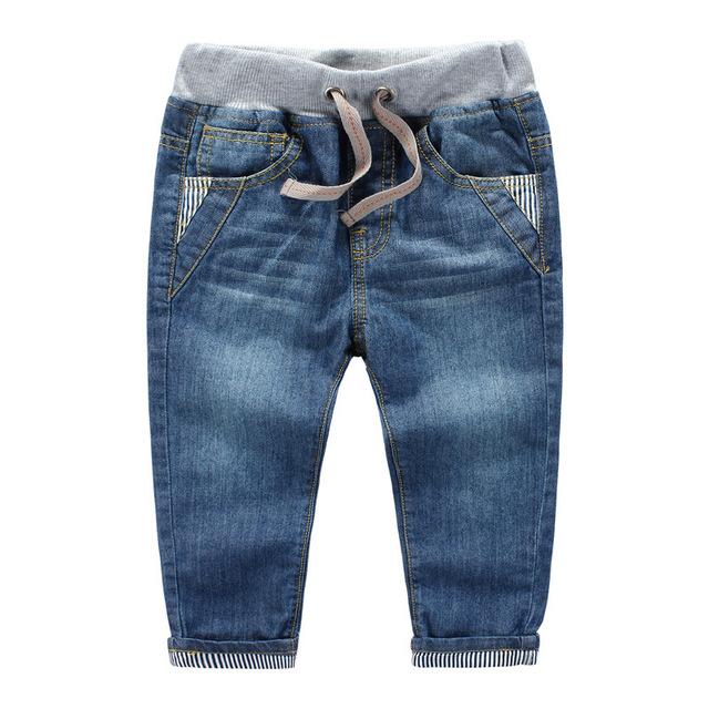 Anos de primavera outono crianças calças de brim do bebê meninos rótulo do volume das calças Das Crianças dos miúdos de alta qualidade calças jeans tarja