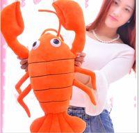 large 60cm cartoon orange lobster plush toy soft pillow birthday gift b0299