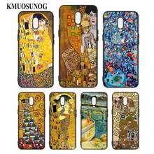 Silicone Case For OnePlus 5T 6 6T Printing Pattern Black Soft Phone Cover Kiss by Gustav Klimt Style