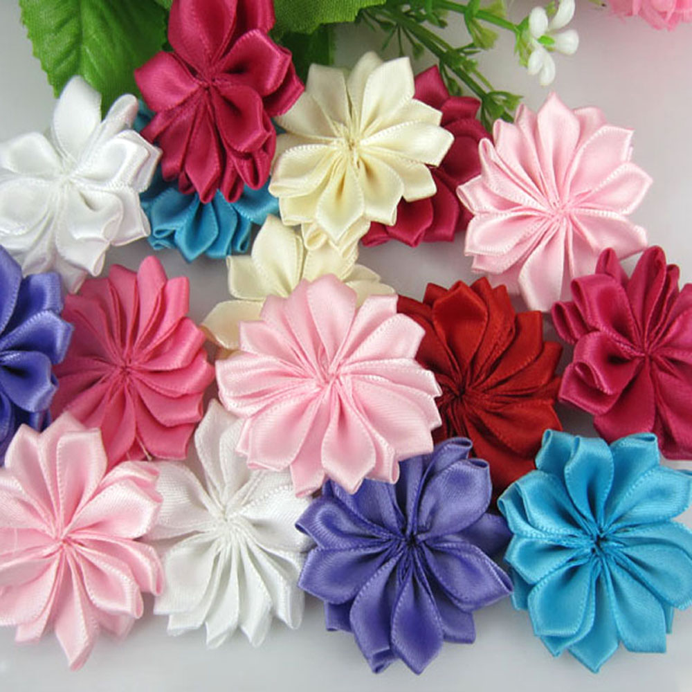 20pcs mixed satin artificial flowers fabric flower applique crafts wedding hair accessories sewing decorations 4.0cm