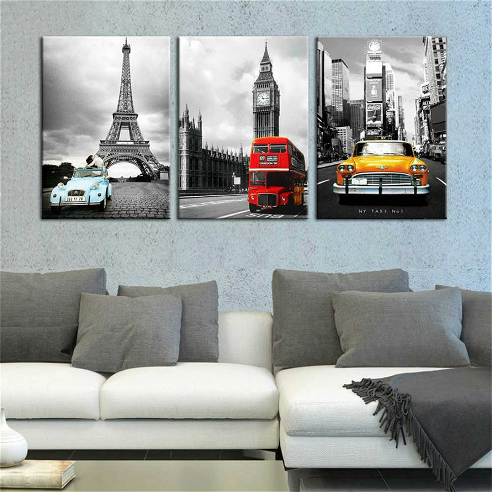 Canvas Pictures Living Room Wall Art 3 Pieces Paris Tower New York City Car Landscape Painting Prints Big Ben Poster Home Decor