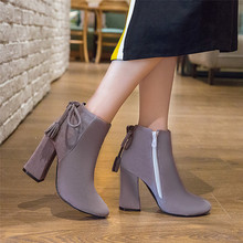 Spring Autumn Winter Women Ankle Boots Square High Heels Woman Short Boots botas High Quality Plus Size 34 – 40 41 42 43