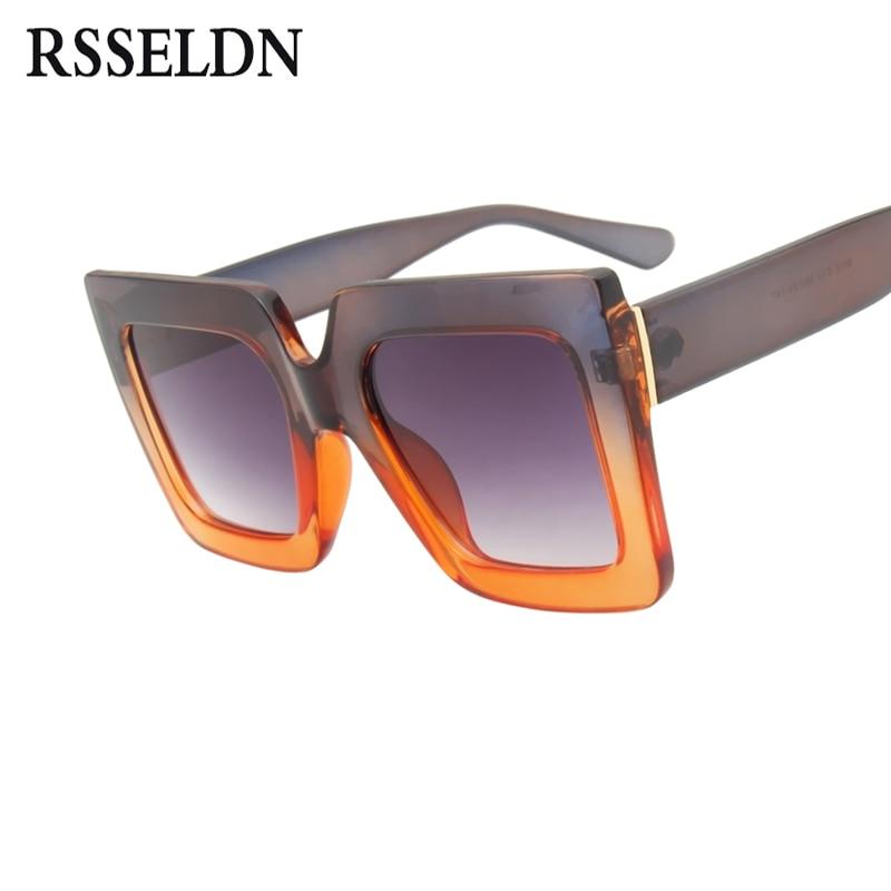RSSELDN New Oversized Square Sunglasses Women Gradient 2018 Summer Style Classic Women Sun glasses Men Big Square Vintage Shades