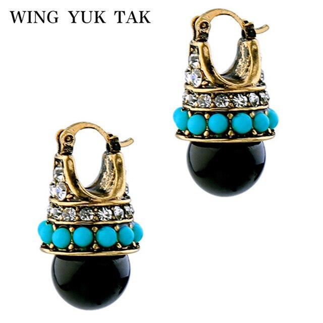 wing yuk tak Brand Earrings Vintage Round Black Palace Crystal Jewelry Fashion Brand Stud Earrings For Women Innovative Bijoux