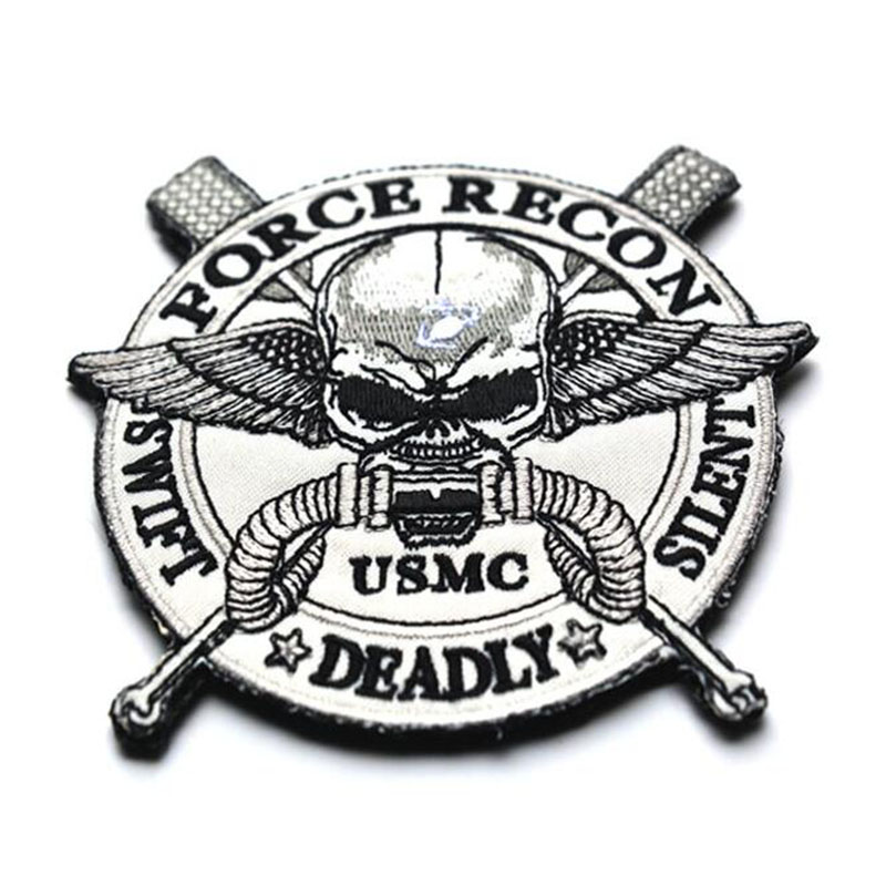 <font><b>USMC</b></font> Tactical Morale <font><b>Patch</b></font> Skull Embroidered Applique US USA Army Military Badge High Quality <font><b>Patch</b></font> For Jackets Jeans Backpack image