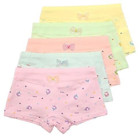 5 pacote meninas boxer breve roupa interior da crianca pouco hipster boyshort criancas cuecas de