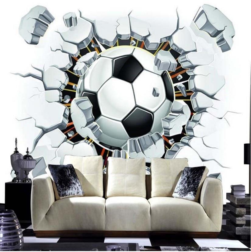 Livraison gratuite 3d football papier peint sport fond mural salon canapé chambre football TV toile de fond taille personnalisée papier peint