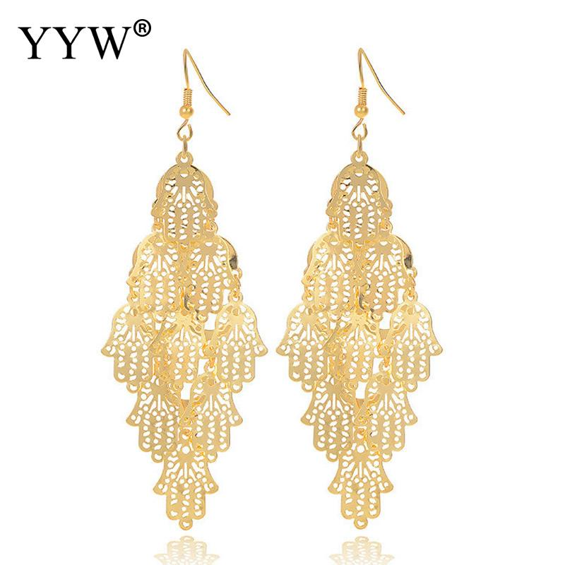 Metal Multilever Hamsa Earrings Gold Color Drop Earrings for Women Party Dress Jewelry Supply 35mm Sold By Pair