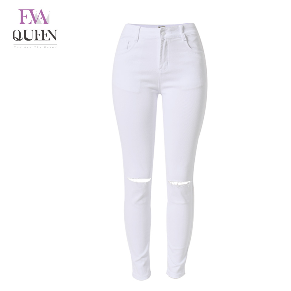 EvaQueen Casual Denim Pants Solid White Jeans Women Plus Size 2017 New Spring Autumn Straight Skinny High Waist Zip Washed Pants 2017 new jeans women spring pants high waist thin slim elastic waist pencil pants fashion denim trousers 3 color plus size
