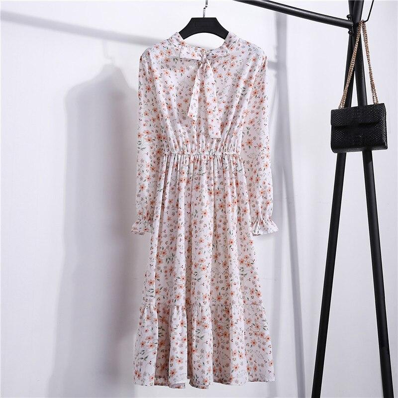 Summer Korean Chiffon Women Dress Elegant Ladies Vintage Long Dress Boho Floral Office Long Sleeve Vestidos Clothing 5LYQ003 28