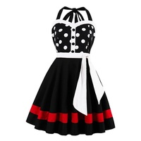 Sisjuly Vintage Dress Spring Strapless 1950s Sexy Summer Dots Patchwork Sashes Party Dress Pin Up Playful
