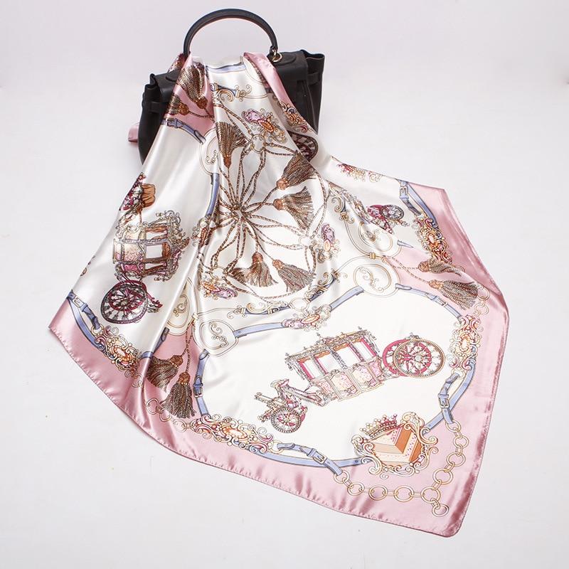 Women   Scarf   Luxury Brand Satin Large Square Wagon Chain Hijab Silk Satin Shawl Scarfs Foulard Square Head   Scarves     Wraps   90x90cm