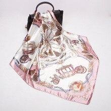 Women Scarf Luxury Brand Satin Large Square Wagon Chain Hijab Silk Satin Shawl S