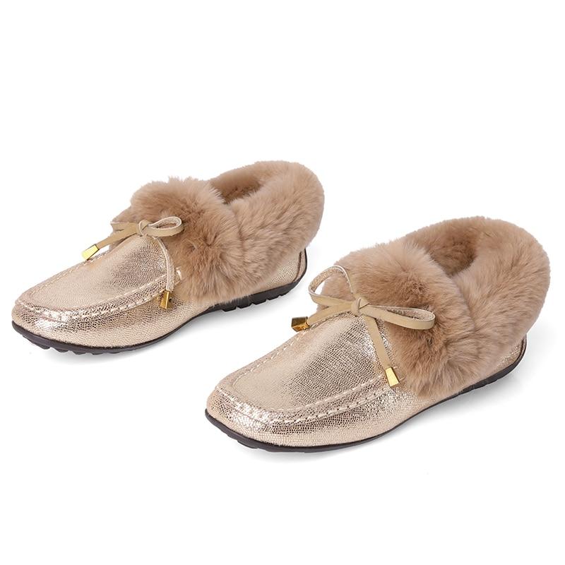 Ladies New Wetkiss Donna Girl Winter Toe Square Flats Loafer Woman 2019 Casual Mocassini Oro Nero Fashion Warm Fur Shoes qqxZvwgF