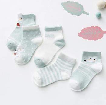 0-3Y 5 Pairs/lot Infant Baby Socks Cute Summer Breathable Mesh Sock Cotton Newborn Boys Girls Short Socks - Q, 3M