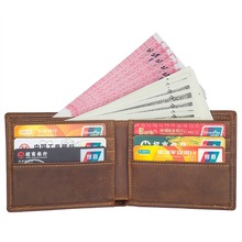 J.M.D  Top Quality Crazy Horse Leather Caed Case Package ID Credit Card Holder With Two Bill Comparments Brown R-8165R
