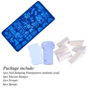 Image 5 - 1 conjunto prego placas de carimbo geometria laço flor sonho apanhador com jelly stamper scrapper esponja manicure imagem placa ferramenta ji804
