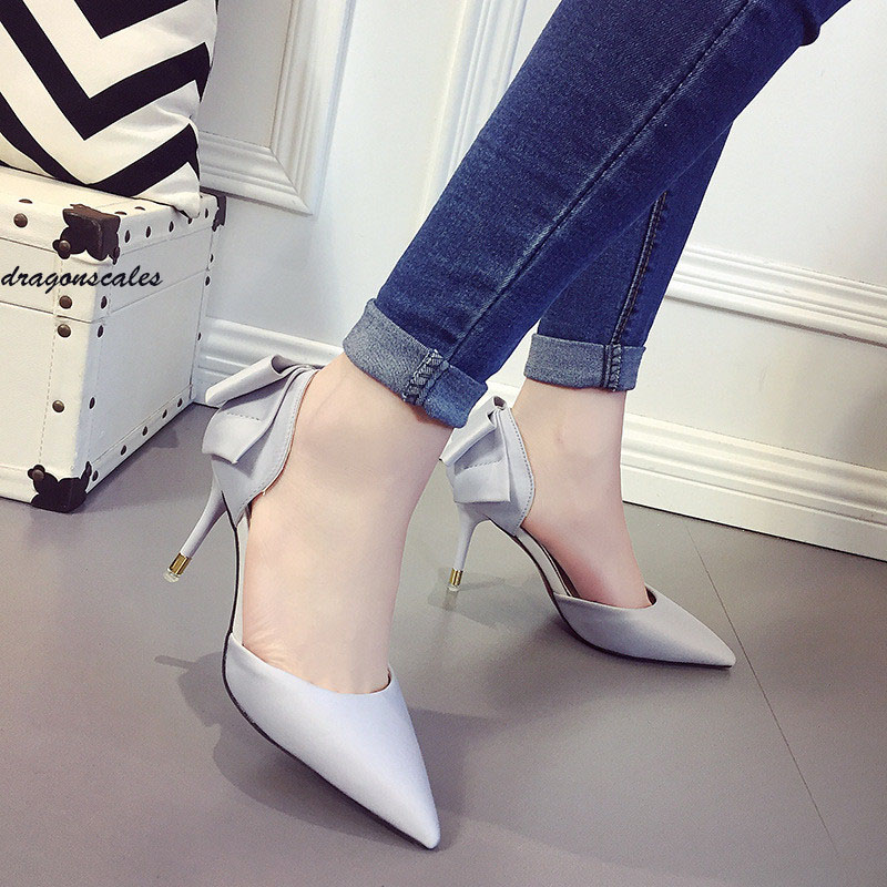 Sapato Feminino Real Basic 0-3cm Dames Schoenen 2017 New European Bow Shoes With A Fine Shallow Mouth Tip Side Empty High Heels sapato feminino dames schoenen the new 2017 national wind woman of genuine shoes lvkong high restoring ancient ways with 5690