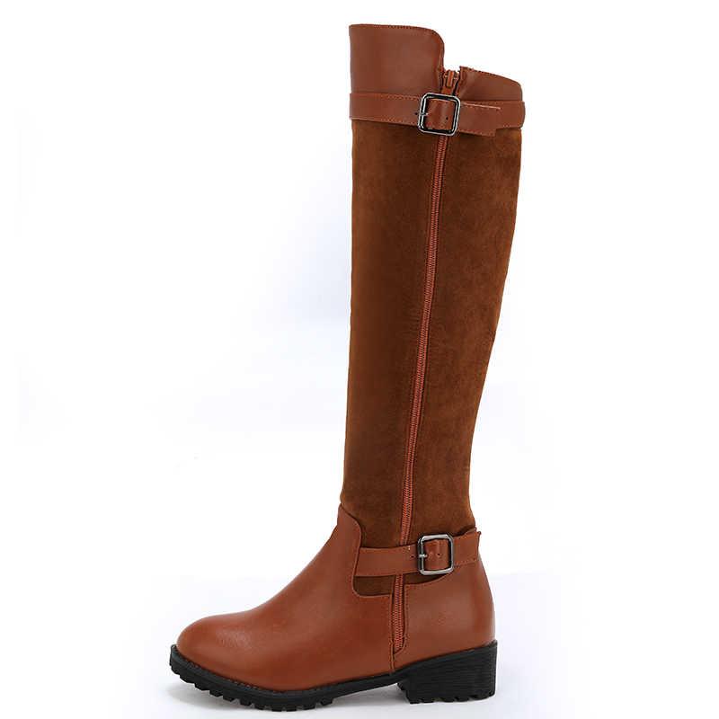 LVABC 2018 delle donne di inverno caldo stivali alti al ginocchio punta rotonda giù pelliccia di modo delle signore coscia stivali da neve scarpe impermeabili botas 37
