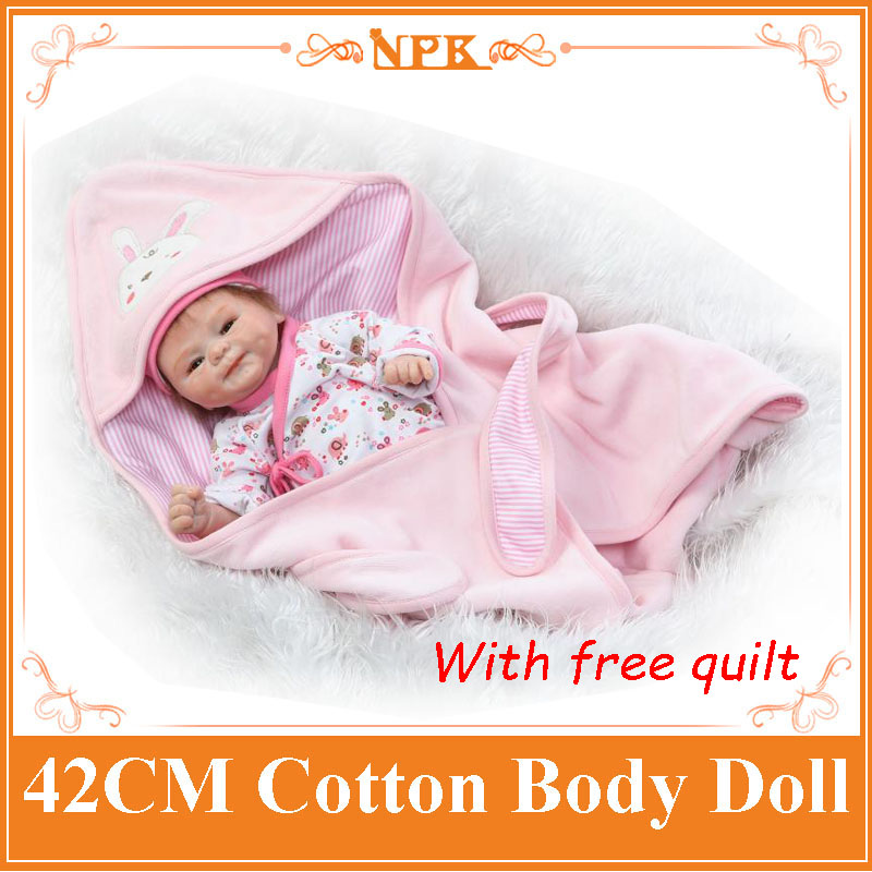 17inch NPK Newborn Baby Doll Realistic Bebes de Silicona Cotton Body Reborn Doll With Free Quilt