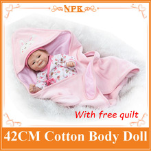 17inch NPK Newborn Baby Doll Realistic Bebes de Silicona Cotton Body Reborn Doll With Free Quilt Toys For Girls Kids Gift Boneca