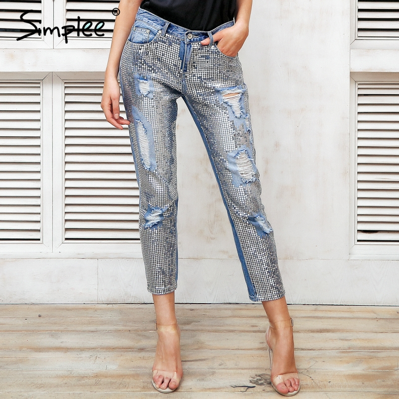 Simplee Sequin hole blue jeans women bottom Streetwear zipper fringe ripped jeans pants 2019 Spring trousers loose female denim