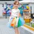 Fashion Girls Clothing Sets Summer Girls Clothes Lace Satin Tulle Rainbow Tutu Skirt Suits Children Kids Outfits Party Costumes