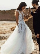 2019 Sexy See Through Boho Beach Wedding Dress Cheap Lace Bridal Gowns Tulle V Neck Backless Vestido De Noiva short wedding dresses 2019 new design v neck cap sleeve backless tea length a line tulle lace bridal gowns vestido de noiva