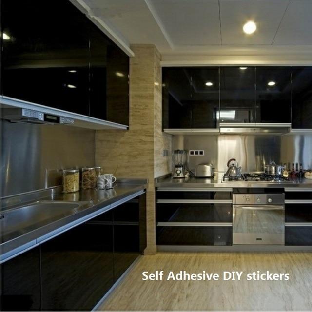 Negro auto adhesivo rollo de papel de vinilo para Muebles DIY cocina ...