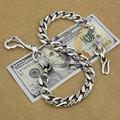 Punk Rocker Fashion Fish Hook Waist Pendant Solid 925 Sterling Silver Cool Men's Biker Dragon Totem Wallet Chain  8F002WC2