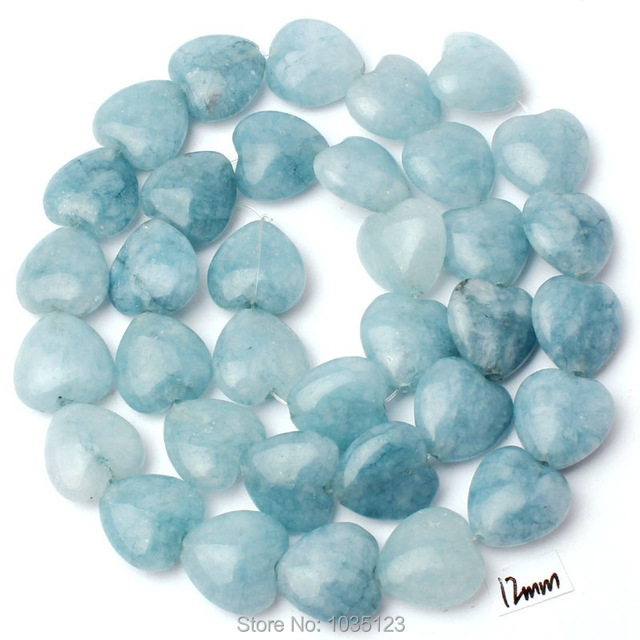 Captivating Free Shipping 12mm Natural Light Blue Stone Heart Shape Gems Loose Beads  Strand 15 Good Looking